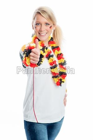 donna gesticolare tifoso bandiera tedesca wm