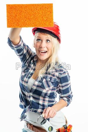 woman present presentation sponge advertising space
