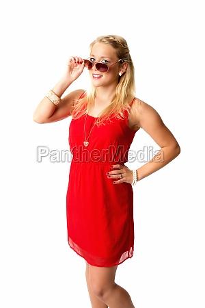 blonde woman wearing sunglasses