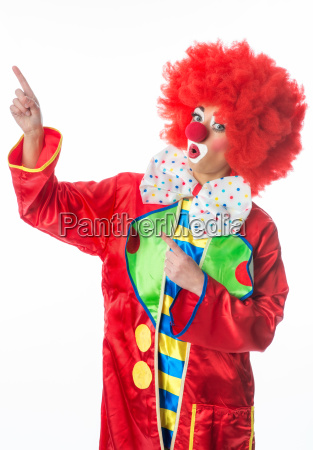 clown pointing with his finger