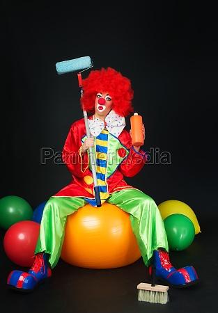 clown as a house painter