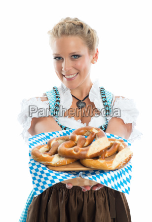 bayrisches, mädchen, mit, brezn, - 11823453