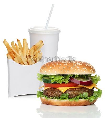hamburger con patatine fritte e bevanda