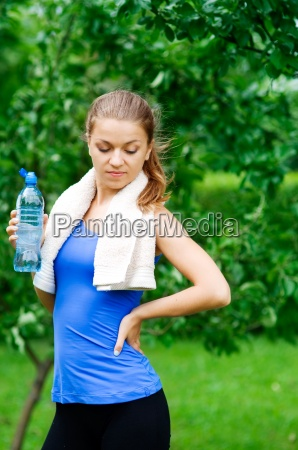 young woman after exercising