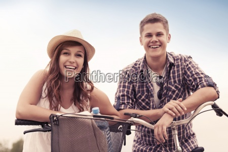 beautiful couple with bikes