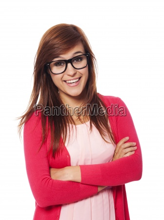 portrait of smiling woman with fashion
