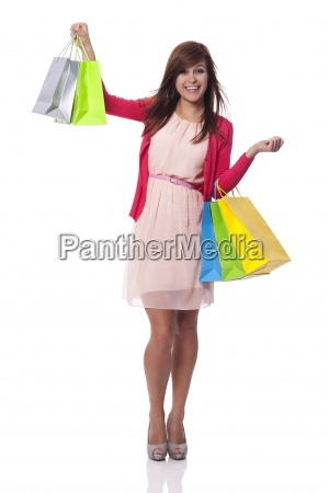 fashionable young woman with full of