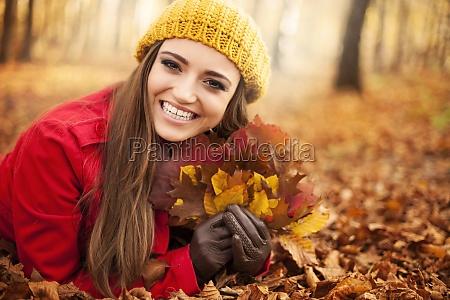 happy gorgeous woman at autumn season