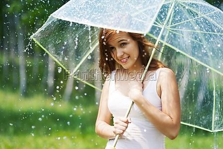 bella, donna, con, ombrello, durante, la - 12109508