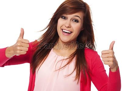giovane, donna, felice, che, mostra, i - 12109616