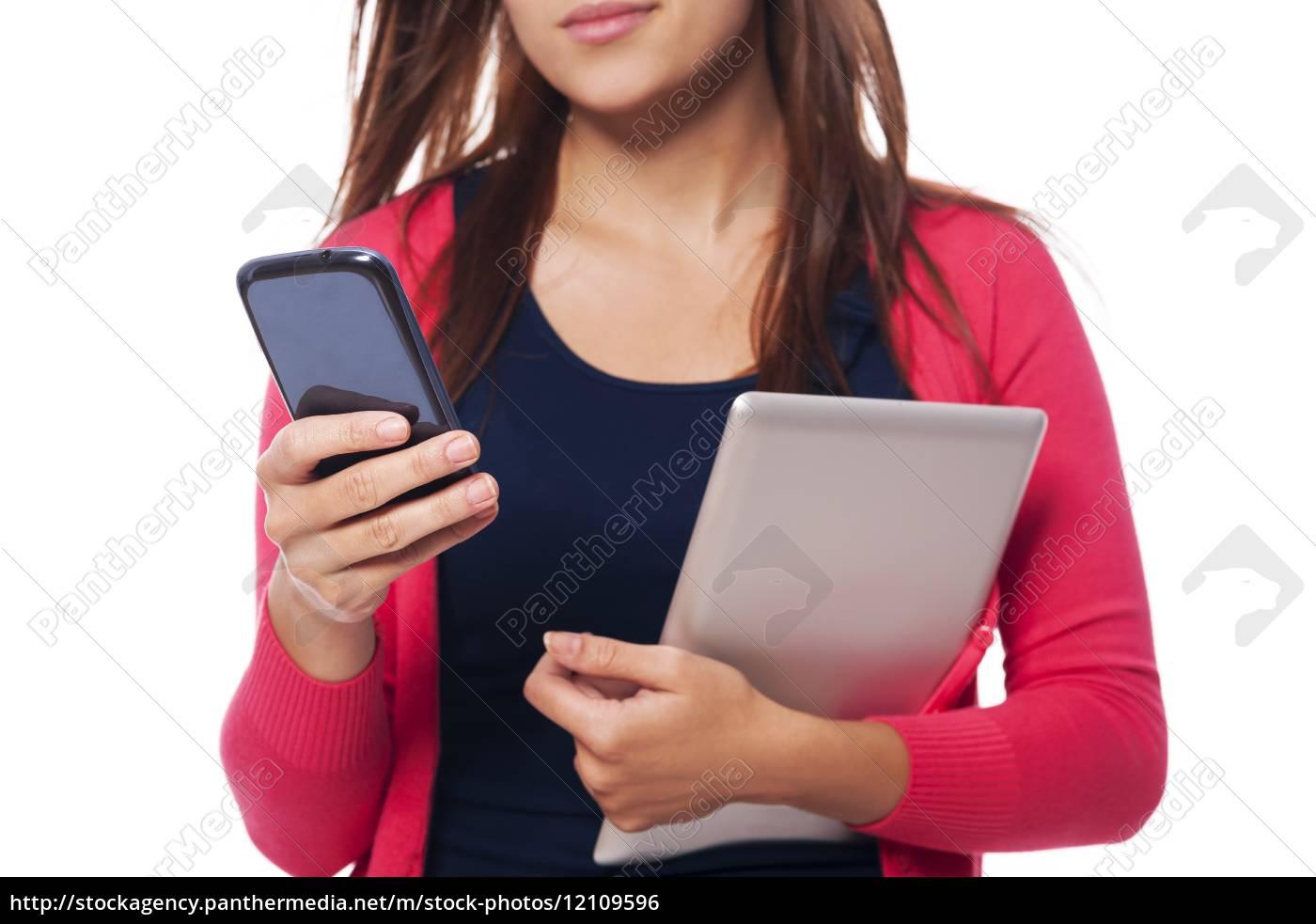 primo, piano, della, donna, con, tablet - 12109596
