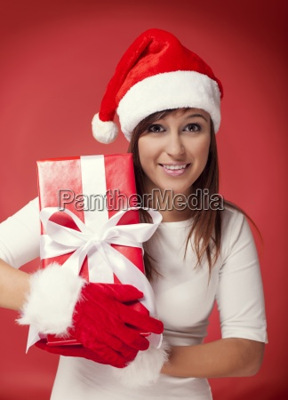 santa woman with red gift box