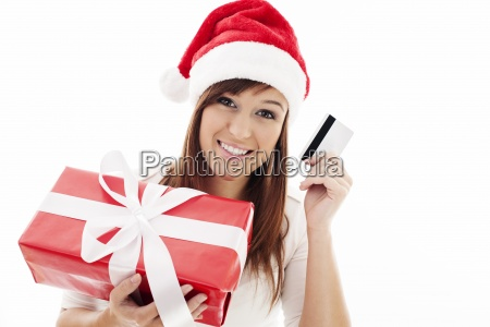 happy young woman with red gift