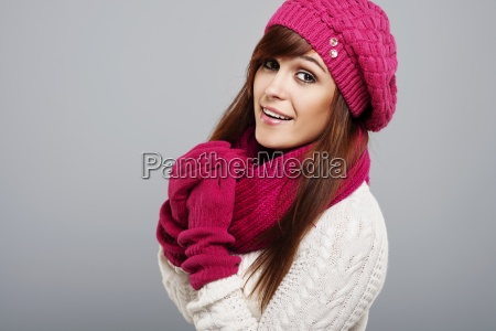 portrait of beautiful woman in winter