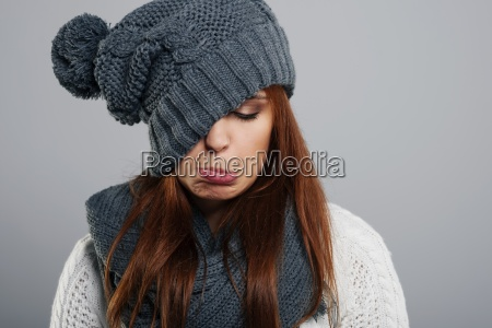 young woman doesnt like winter time
