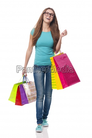 happy woman is satisfaction from shopping