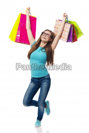 young woman loving summer sale