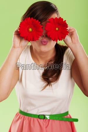 woman have fun with spring flower
