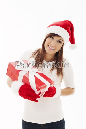 beautiful, woman, with, santa, hat, holding - 12110208