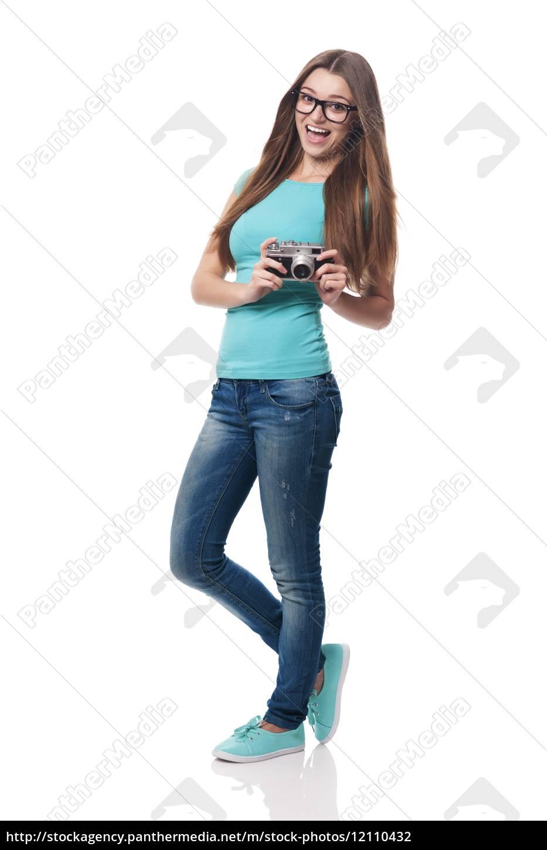 donna, felice, che, indossa, occhiali, di - 12110432