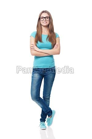 ritratto, di, studentessa, sorridente, - 12110464