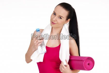 healthy woman holding bottle of water