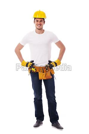 portrait of handsome construction worker