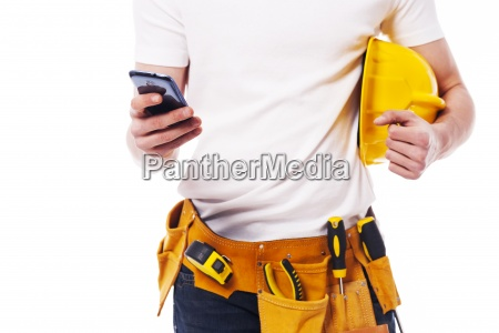 close up of construction worker using