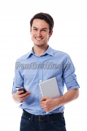 happy man holding mobile phone and