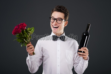 happy man with a bouquet of