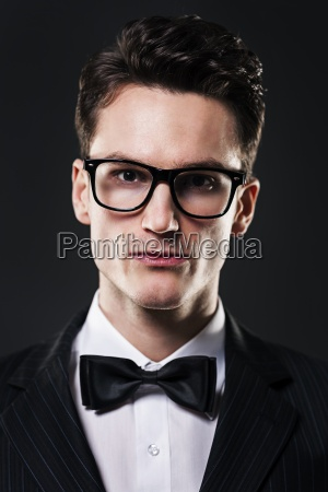 portrait of serious and handsome man