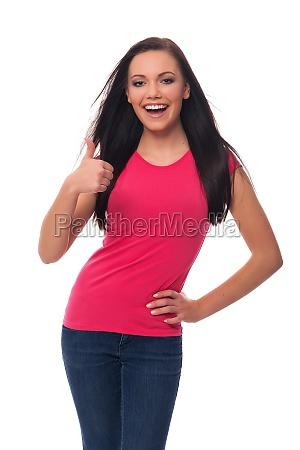 felice, giovane, donna, che, mostra, pollici - 12111176