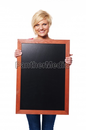 blonde young female with blackboard
