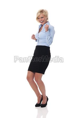 happy businesswoman celebrating success