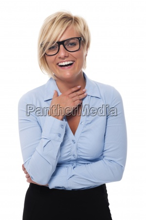 beautiful woman wearing fashion glasses laughing