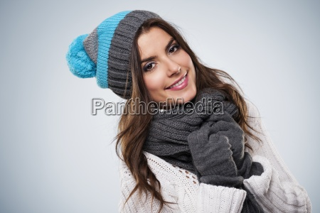 smiling woman wearing fashion winter clothes