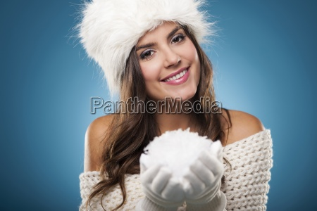 portrait of beautiful winter woman with