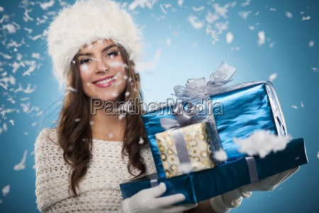 winter woman with christmas presents