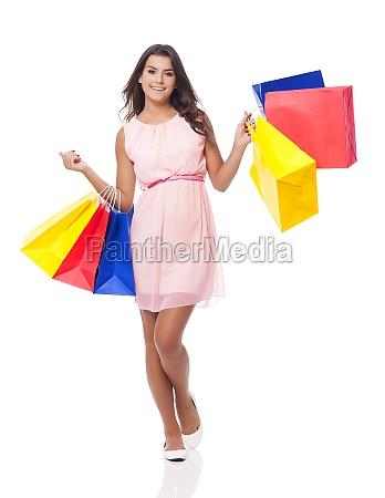 happy woman enjoying successful shopping