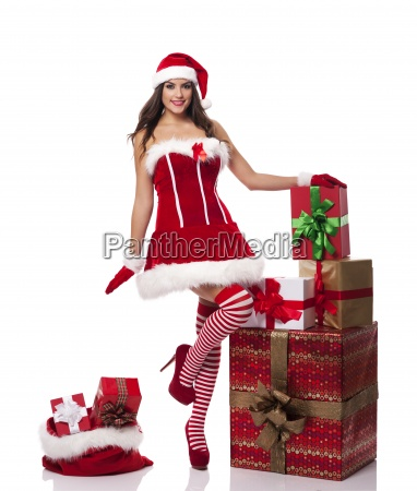 sexy santa woman with christmas presents