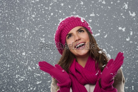 beautiful, woman, is, happy, from, snow - 12112712