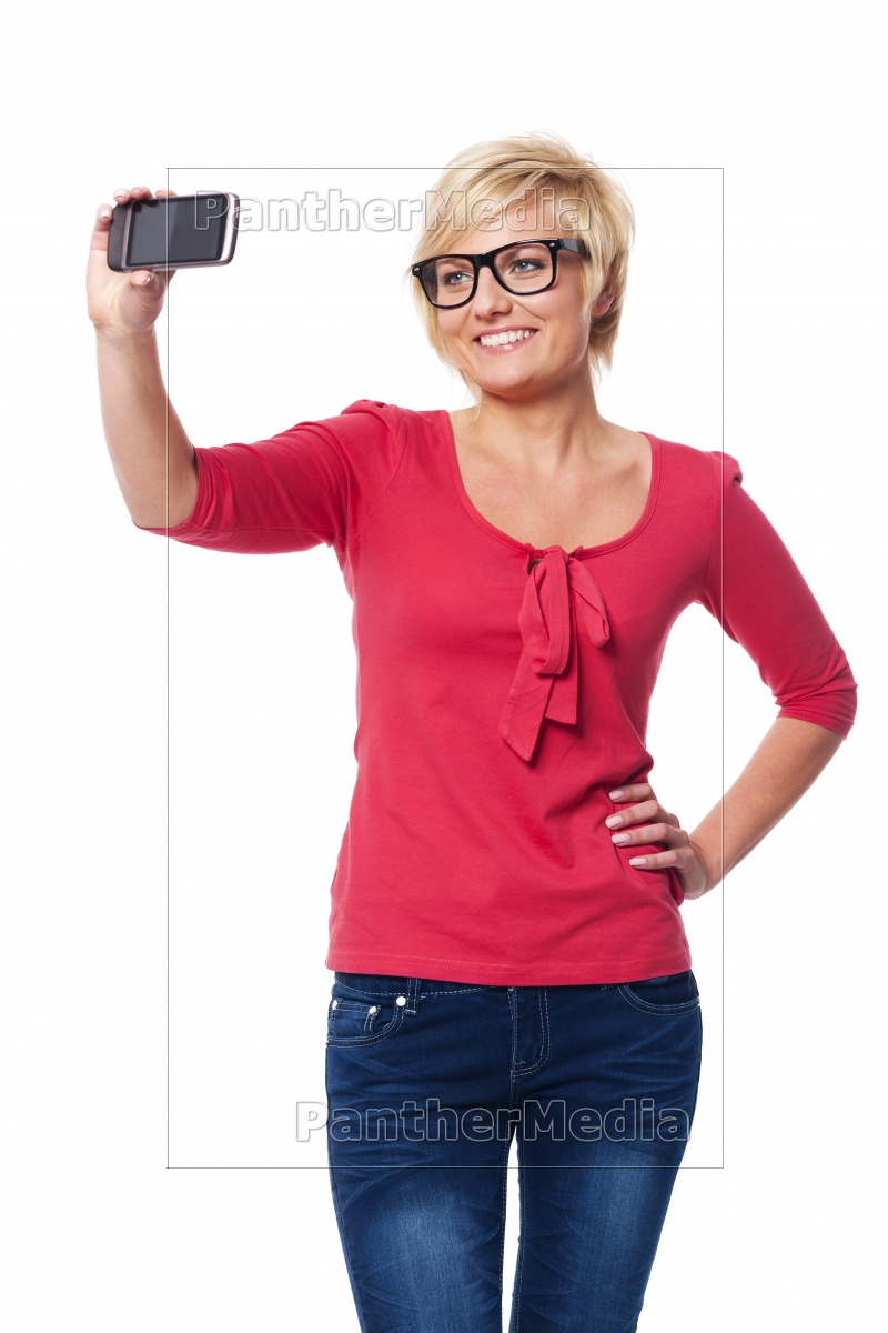 blonde, woman, wearing, glasses, taking, self - 12112336