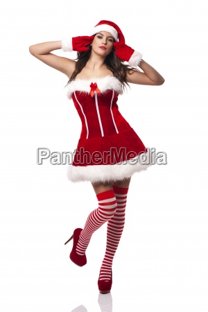 gorgeous and sexy woman in santa