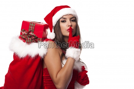 sexy santa claus woman with christmas