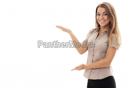 successful businesswoman gesturing on white