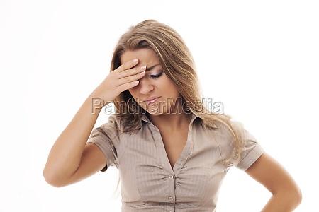 woman with bad headache
