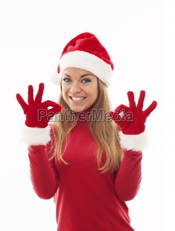 santa woman giving an ok sign