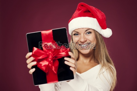 santa woman with digital tablet gift