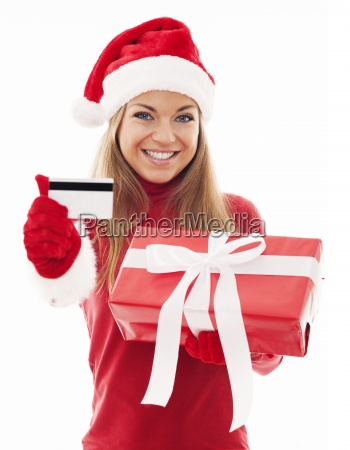happy woman with red gift and