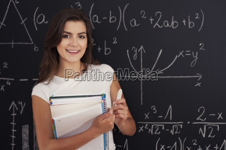 portrait of beautiful student with spiral